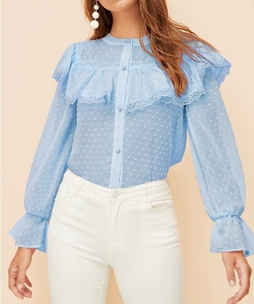 Picture of Lace Trim Swiss Dot Shirt