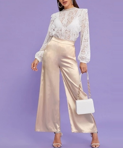 Picture of High Waist Wide Leg Satin Pants
