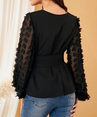 Picture of Belted Applique Mesh Sleeve Blouse