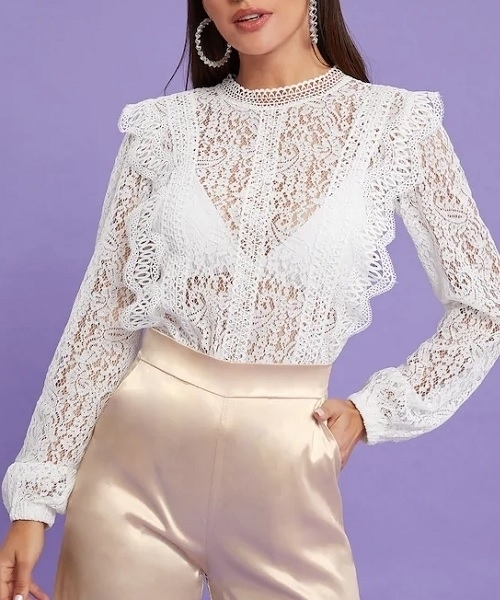 Picture of Sheer Lace Frill Blouse