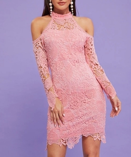 Picture of Guipure Lace Cold Shoulder Bodycon Cocktail Dress