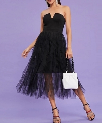 Picture of Mesh Contrast Strapless Occasion Dress