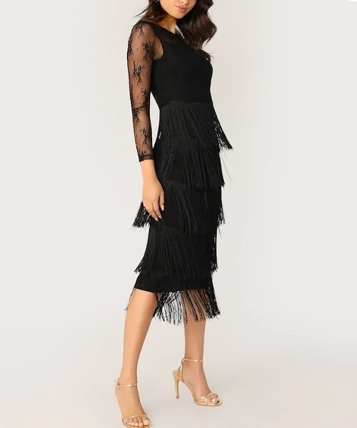 Picture of Sheer contrast Lace Fringe Layered Cocktail Dress
