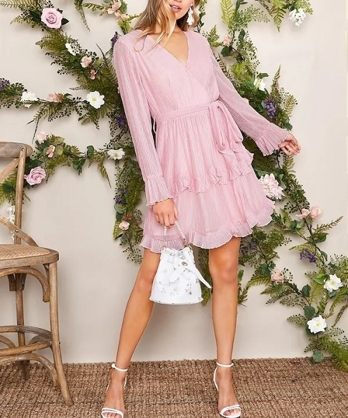 Picture of Belted Surplice Neck Ruffle Trim Dress