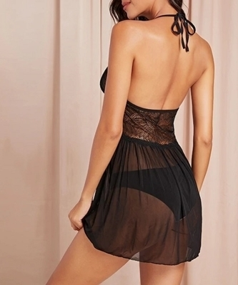 Picture of Contrast Lace Babydoll With Thong