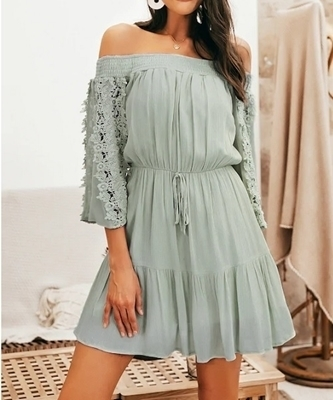 Picture of Lace Insert Tied Waist Ruffle Hem Off Shoulder Dress