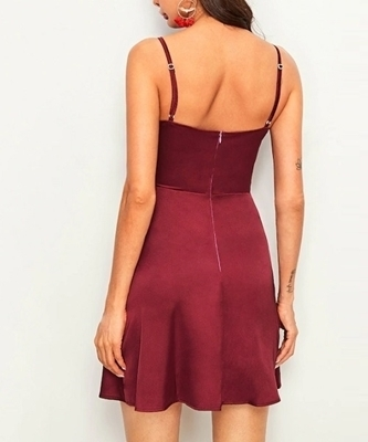 Picture of Solid Satin Cami Cocktail Dress