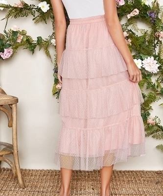 Picture of Elastic Waist Layered Mesh Skirt