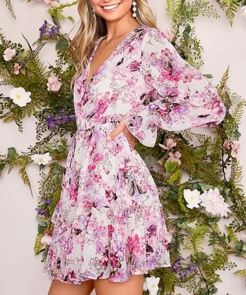 Picture of Floral Ruffle Trim Tie Print Dress