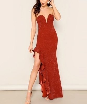Picture of Asymmetrical Ruffle Trim Bandeau Occasion Dress