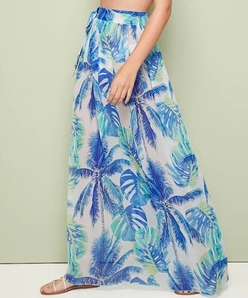 Picture of Tropical Tie Waist Semi Sheer Beach Cover Up Skirt - Blue