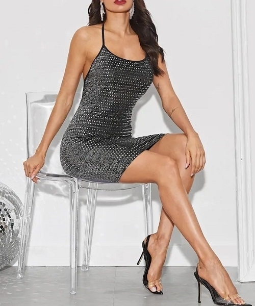 Picture of Solid Sequin Slip Bodycon Cocktail Dress