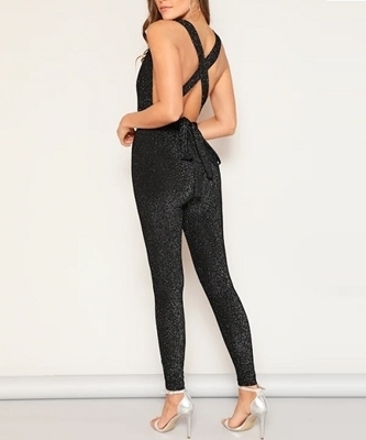 Picture of Deep V-neck Criss Cross Backless Glitter Jumpsuit