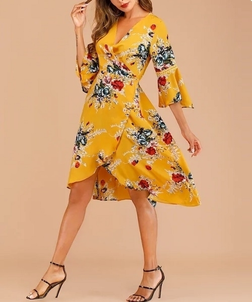 Picture of Floral Print Knot Wrap Dress