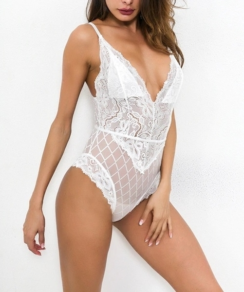 Picture of Floral Lace Sheer Lingerie Teddy