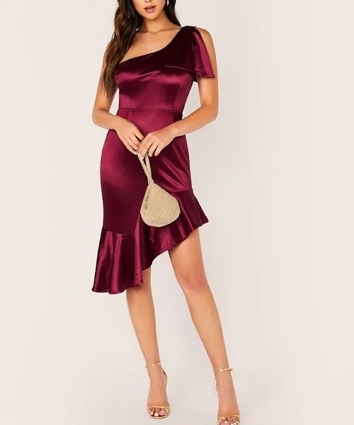 Picture of Satin One Shoulder Ruffle Hem Cocktail Dress