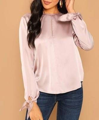 Picture of Satin Slit Keyhole Women Top