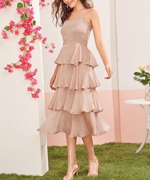 Picture of Satin Slip Ruffle Trim Layered Hem Satin Occasions Dress