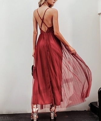 Picture of Mesh Criss-Cross Backless Slip Maxi Occasion Dress
