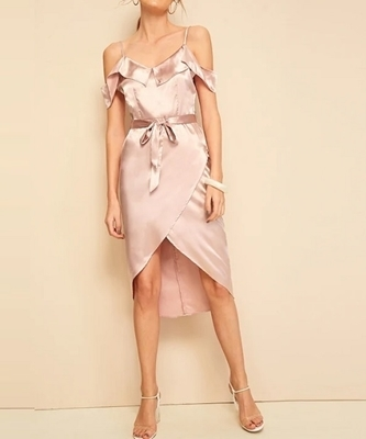 Picture of Satin Wrap Ruffle Trim Belted Cocktail Dress
