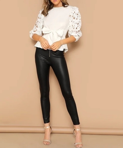 Picture of Laser Cut Knotted Peplum Women Top