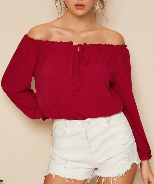 Picture of Off The Shoulder Frill Trim Women Top