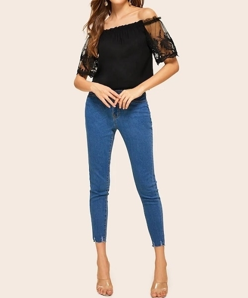 Picture of Off Shoulder Lace Mesh Sleeve Women Top