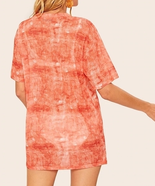 Picture of Drop Shoulder Tie Dye Beach Cover Up