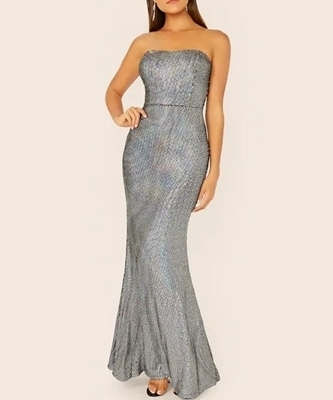 Picture of Fishtail Hem Sequin Strapless Evening Dress