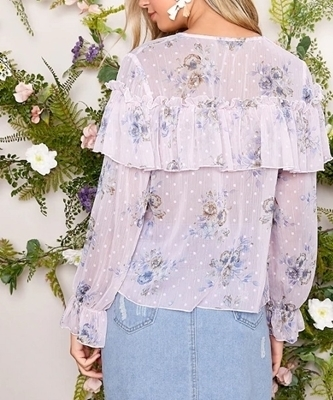 Picture of Floral Sheer Ruffle Frilled Top Women