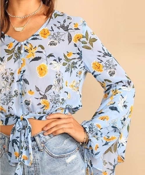 Picture of Floral Short Sheer Bell Sleeve Knot Front Blouse @ Zando