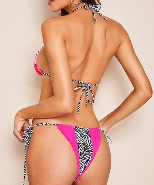 Picture of Halter Zebra Print Halter Top String Bikini Set