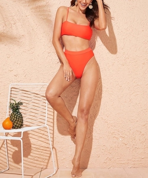 Picture of Orange Spaghetti Strap High Waist Bikini Set
