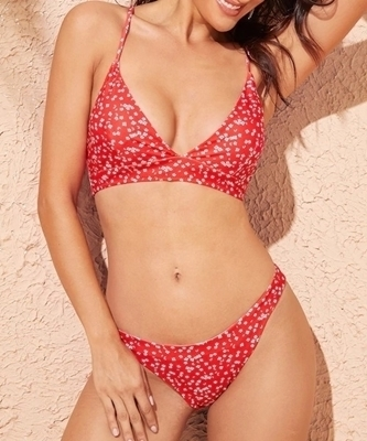 Picture of Floral Print Criss-cross Lace Up Back Bikini Set