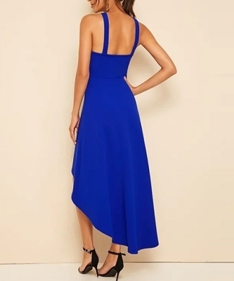 Picture of High Low Hem Halter Fit & Flare Dress