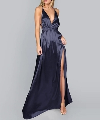 Picture of Plunge Neck Crisscross Back Split Thigh Pleated Satin Formal Dress
