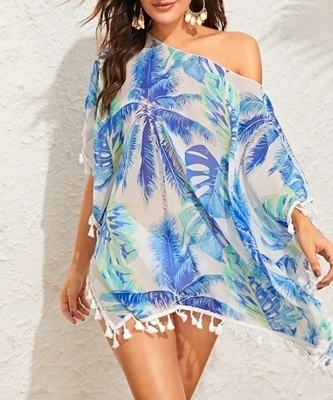 Picture of Fringe Jungle Print Tassel Trim Beach Cover Up