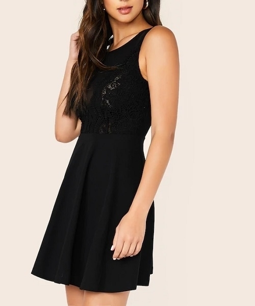 Picture of Lace & Mesh Bodice Flare Backless Cocktail Dress
