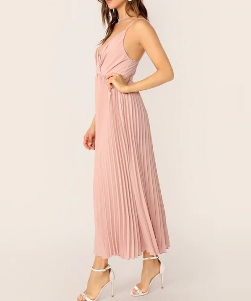 Picture of Surplice Neck Pleated Hem Slip Occasion Dress