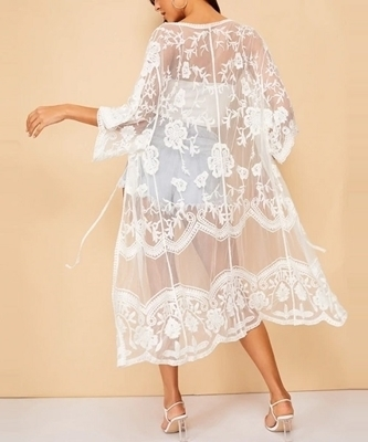 Picture of Floral Pattern Sheer Beach Kimono
