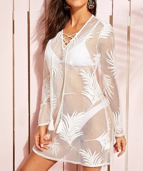 Picture of Lace Up Front Sheer Embroidered Mesh Beach Cover Up