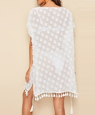 Picture of Appliques Tie Waist Tassel Hem Beach Cover Up