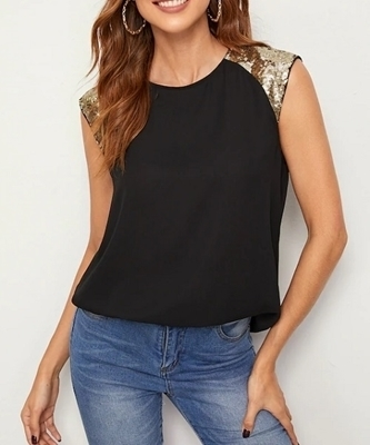 Picture of Keyhole Back Sequin Panel Shoulder Top