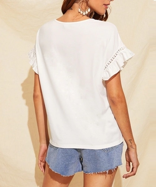 Picture of Ruffle Trim Guipure Lace Detail Top
