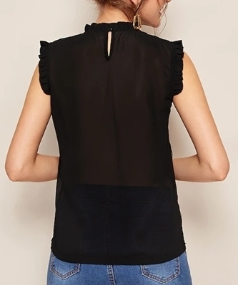 Picture of Sheer Lettuce Frill Contrast Lace Ladies Blouse
