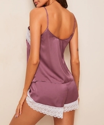 Picture of Lace Trim Satin Feel Cami Sleepwear Set