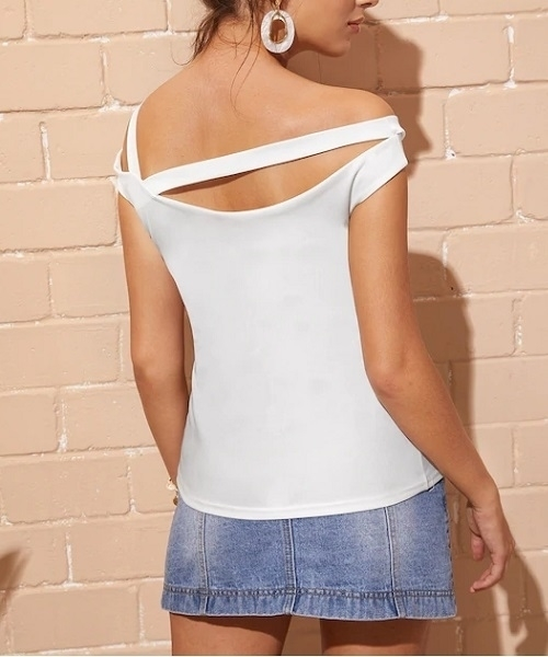 Picture of Solid Asymmetrical Neck Women Tee