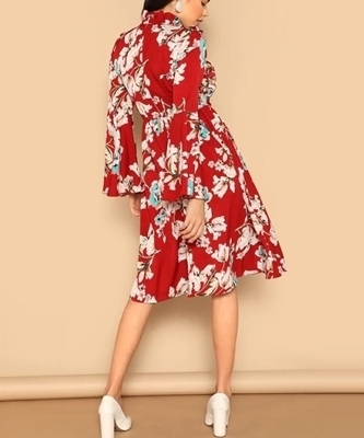 Picture of Floral Ruffle Bell Sleeve Dress