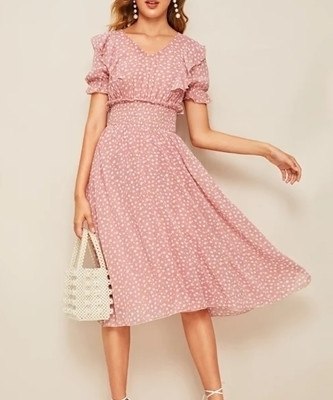 Picture of Ruffle Trim Puff Sleeve Shirred Waist Women Dress