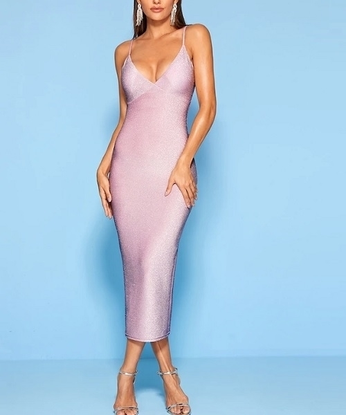 Picture of Glitter Gathered Bust Bodycon Cami Cocktail Dress